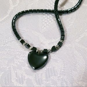 "Hematite Heart 16"" Choker Necklace"